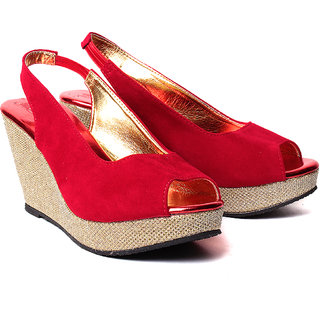 Ruby Red Wedges Sandals