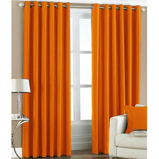 Fabbig Orange Crush Long Door curtains (Set Of 2)