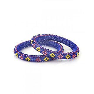 Handcrafted Blue Red Yellow Beaded Bangles