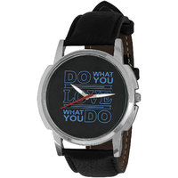 Relish Black Analog Leather Casual Wear Watch For Men