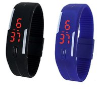 Combo Of Two Band Watches Black  Blue For Men's