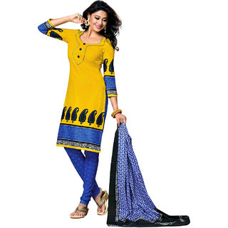 Drapes Yellow And Blue Cotton Printed Salwar Suit Dress Material