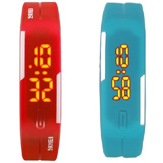 combo of two band watches red & skyblue for men's