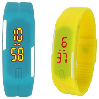combo of two band watches skyblue & yellow for men's