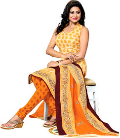 Drapes Red Dupion Silk Lace Salwar Suit Dress Material (Unstitched)
