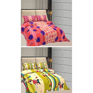 FREELY 100 COTTON DOUBLE 2 BEDSHEETS WITH 4 PILLOW COVER (9601A-9605D)