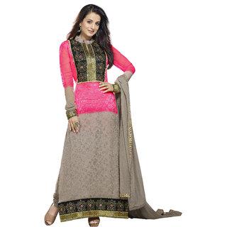 Adah Fashions Grey  Pink Silk Jaquard Designer Salwar Kameez