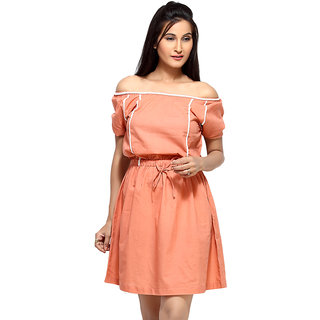 Loco En Cabeza Peach Short Sleeve Short Dress
