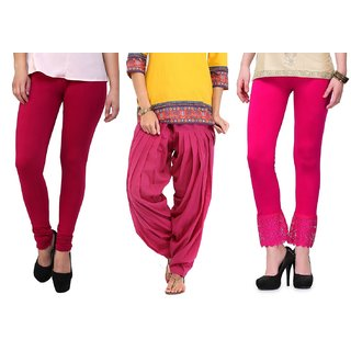 Stylobby Pink Legging Patiala Salwar Lace Palazzo Combo Deal Of 3