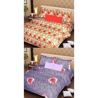 Akash Ganga Set of 2 Cotton Bedsheets with 4 Pillow Covers (AG1082)