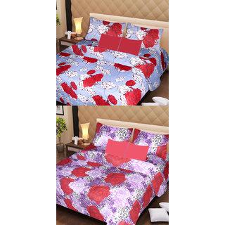 Akash Ganga Set of 2 Cotton Bedsheets with 4 Pillow Covers (AG1083)