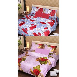 Akash Ganga Set of 2 Cotton Bedsheets with 4 Pillow Covers (AG1084)