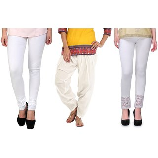 Stylobby White Legging Patiala Salwar Lace Palazzo Combo Deal Of 3