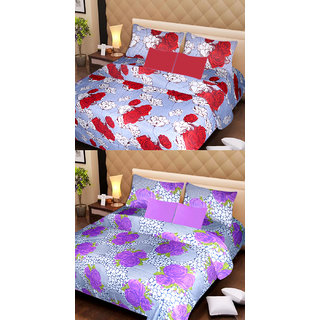 Akash Ganga Set of 2 Cotton Bedsheets with 4 Pillow Covers (AG1085)
