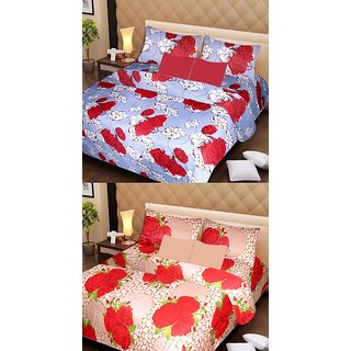 Akash Ganga Set of 2 Cotton Bedsheets with 4 Pillow Covers (AG1087)