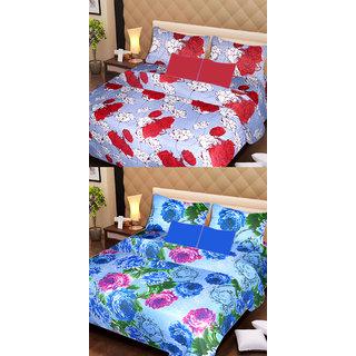 Akash Ganga Set of 2 Cotton Bedsheets with 4 Pillow Covers (AG1088)