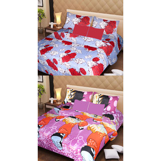 Akash Ganga Set of 2 Cotton Bedsheets with 4 Pillow Covers (AG1090)