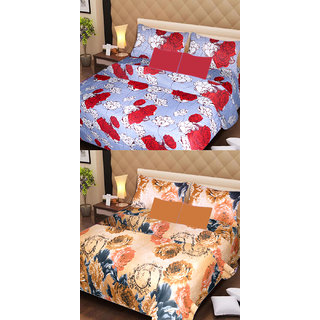 Akash Ganga Set of 2 Cotton Bedsheets with 4 Pillow Covers (AG1091)