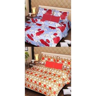 Akash Ganga Set of 2 Cotton Bedsheets with 4 Pillow Covers (AG1092)