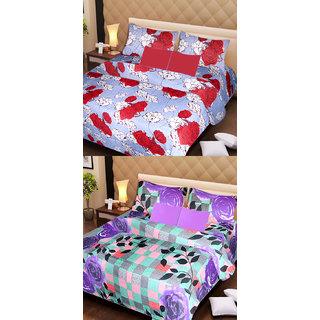 Akash Ganga Set of 2 Cotton Bedsheets with 4 Pillow Covers (AG1094)