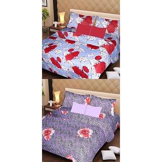 Akash Ganga Set of 2 Cotton Bedsheets with 4 Pillow Covers (AG1097)