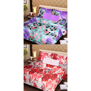 Akash Ganga Set of 2 Cotton Bedsheets with 4 Pillow Covers (AG1098)