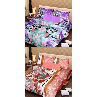 Akash Ganga Set of 2 Cotton Bedsheets with 4 Pillow Covers (AG1099)