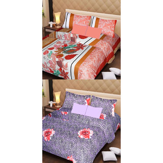 Akash Ganga Set of 2 Cotton Bedsheets with 4 Pillow Covers (AG1100)