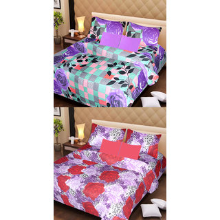 Akash Ganga Set of 2 Cotton Bedsheets with 4 Pillow Covers (AG1101)