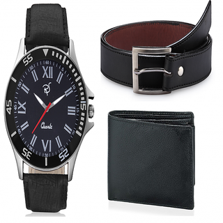 f38407749c2 Buy Rico Sordi Round Dial Black Leather Strap Quartz Watch For Men With  Wallet Online - Get 57% Off