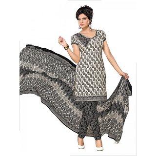 Florence Beige Cotton Lace Salwar Suit Dress Material (Unstitched)