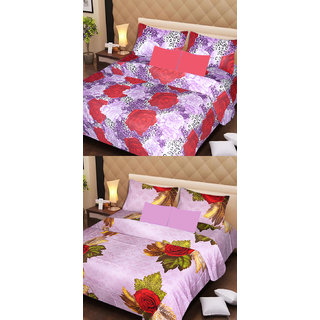 Akash Ganga Set of 2 Cotton Bedsheets with 4 Pillow Covers (AG1102)