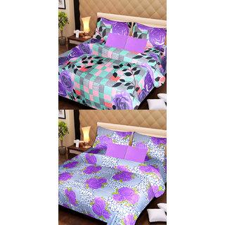 Akash Ganga Set of 2 Cotton Bedsheets with 4 Pillow Covers (AG1103)