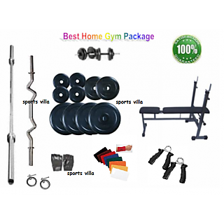 42 KG HOME GYM PACKAGE+INC/DEC/FLAT WEIGHT LIFTING BENCH+4 RODS(1 CURL)+G+WB+G