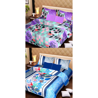 Akash Ganga Pure Cotton 2 Double Bedsheets with 4 Pillow Covers (AG1104)
