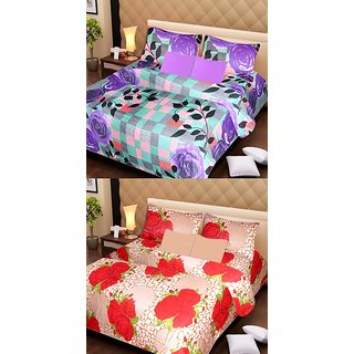 Akash Ganga Pure Cotton 2 Double Bedsheet with 4 Pillow Covers (AG1105)