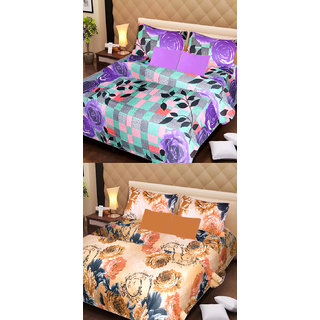 Akash Ganga Pure Cotton 2 Double Bedsheets with 2 Pillow Covers (AG1107)