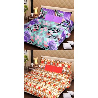 Akash Ganga Pure Cotton 2 Double Bedsheets with 4 Pillow Covers (AG1108)