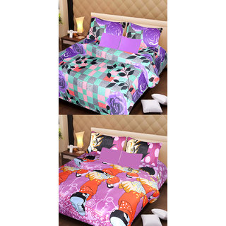Akash Ganga Pure Cotton 2 Double Bedsheets with 4 Pillow Covers (AG1110)