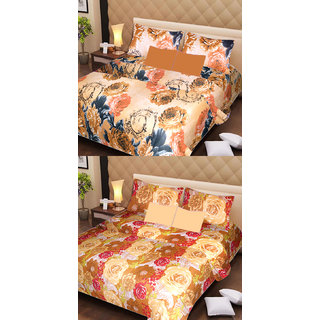 Akash Ganga Pure Cotton 2 Double Bedsheets with 4 Pillow Covers (AG1113)