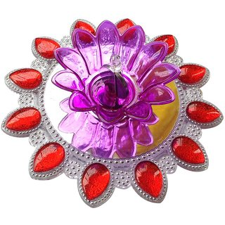 Unique Arts LED T-Light Diya red&silver with round acrylic base