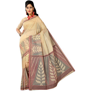 Aagaman Red Cotton Printed Saree With Blouse