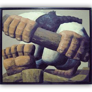 Vitalwalls - Abstract Painting  -Premium  Canvas Art Print. Abstract-035-30cm