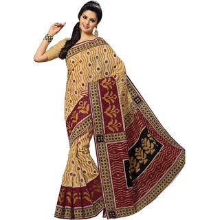 Aagaman Brown Cotton Printed Saree With Blouse