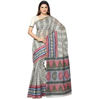 Aagaman Green Cotton Printed Saree With Blouse