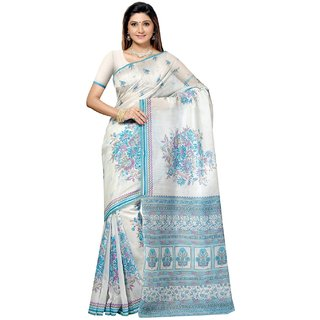 Aagaman White Cotton Printed Saree With Blouse