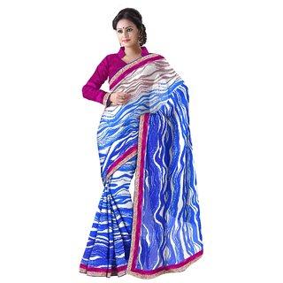 Aagaman Blue Chiffon Printed Saree With Blouse
