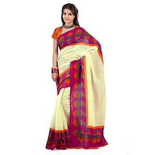 Aagaman Purple Art Silk Printed Saree With Blouse
