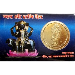 Shani Dosh Nivaran Pocket Yantra Gold Plated Coin In Card Keep In Purse Wallet H