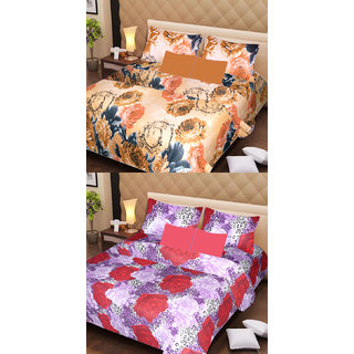 Akash Ganga Beautiful Combo of 2 Double Bedsheets with 4 Pillow Covers (AG1116)